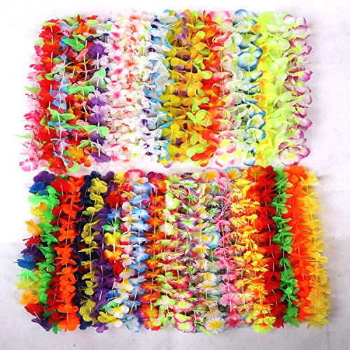 JINNUO TOYS & GIFTS CO.,LTD 52 Counts Tropical Hawaiian Luau Flower Leis Necklace for Party Favors -