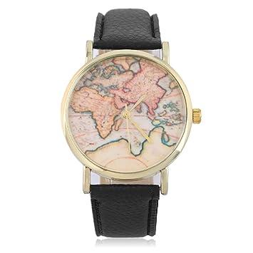 LasVogos Nueva Manera Mujeres con Estilo de Ginebra Globo del Mundo Mapa del Reloj de Ginebra Relojes Vestido Relojes de Las Mujeres del Reloj del Cuarzo: ...