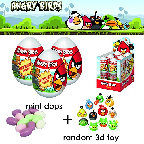 Angry Birds Mini Figure Multi Pack (3 Piece)- Angry Birds Super Surprise eggs - 3d toys inside of eggs Angry birds-RED-Matilda- Green Pigs-Chuck-Bomb-Mighty Eagle-kids playset of Angry birds toys