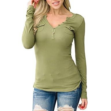 Longra Damen Langarmshirt Elegant Sweatshirt Bluse mit Taste Damen V ...