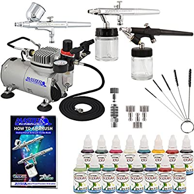 Master Airbrush ABD KIT-WBFP-16-20 Art Professional Airbrush Face and Body Art Paint Airbrushing System Kit with Standard Compressor (09 Items)