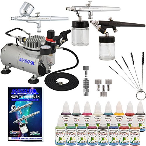 Master Airbrush ABD KIT-WBFP-16-20 Art Professional Airbrush Face and Body Art Paint Airbrushing System Kit with Standard Compressor (09 Items)]()