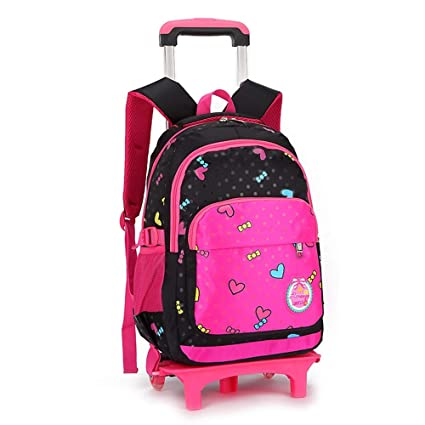 Geromg Children Trolley Backpack School Bags Grils Wheeled Bag Student  Detachable Rolling Backpacks Trolley schoolbags Travel cab42c6611be6