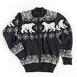Vrikke Men's 100% Norwegian Merino Wool Polar Bear Cardigan Christmas Sweater (L)