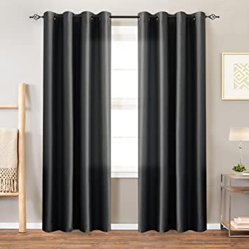 Black Curtains 84 inch Length Bedroom Faux Silk Satin Window Curtain Panels  Dupioni Grommet Light Reducing Drapes Living Room Window Treatment Set 1 ...