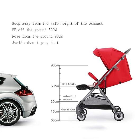 QZX Carrito de bebé Buggy de Viaje Ligero Totalmente Desmontable y Lavable. Tela Oxford Marco de aleación de Aluminio Cochecito Plegable para bebé de 0-3 ...