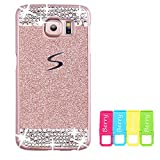 Berry Accessory(TM) Beauty Luxury Diamond Hybrid Glitter Bling Hard Shiny Sparkling with Crystal Rhinestone Cover Case for Samsung Galaxy S6 Edge Plus + Berry logo stand holder (Rose Gold + Bling)
