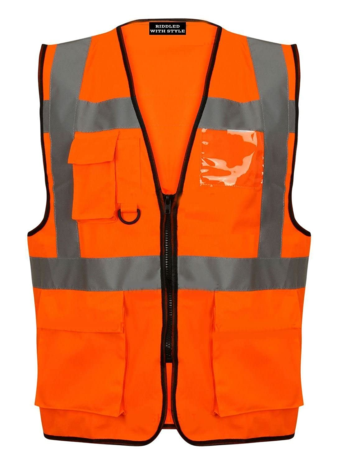 RIDDLED WITH STYLE HIGH VIS VIZ Visibility Vest Work Front Zip UP Fastening Waistcoat Reflective Safety Security Tops
