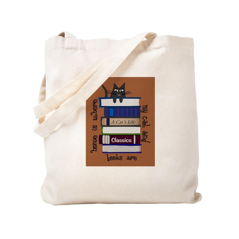 CafePress – ホームis where cat and books areブラウン – ナチュラルキャンバストートバッグ、布ショッピングバッグ S ベージュ 0972226098DECC2 B0773TKRQN  S