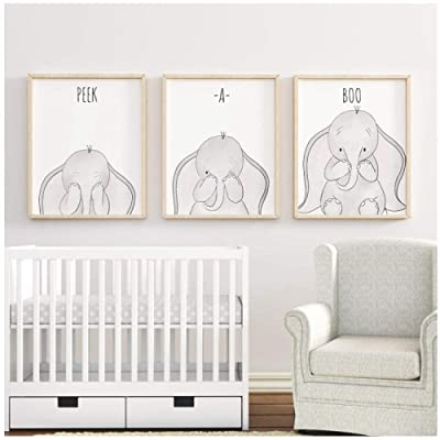 woplmh Elephant Peek-a-Boo Funny Nursery Wall Art Canvas Painting Nordic Posters and Prints Cartoon Pictures Baby Kids Room Decor-40x50cmx3Pcs(No Frame): Kitchen & Dining
