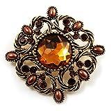 Vintage Filigree Crystal Brooch (Antique Gold & Amber Coloured)
