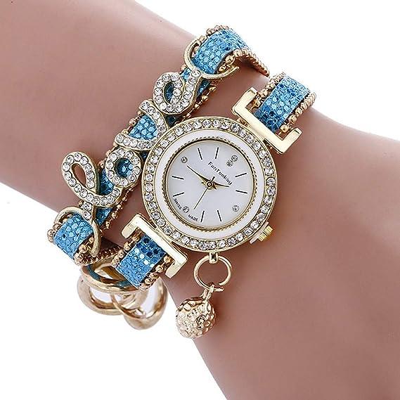 Reloj de Pulsera de Cuero para Mujer, Reloj de Pulsera de Cuarzo con Incrustaciones de Cristal, Reloj de Pulsera de Lujo, Reloj de Moda para Mujer: ...