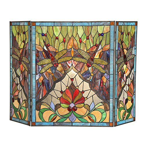Chloe, Tiffany-Glass Dragonfly 3pcs 44x28 ANISOPTERA Purity Folding Fireplace Screen, One Size by Chloe