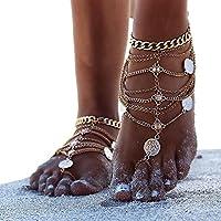 TEKIMBE 1 Pair Fashion Retro Punk Tassel Anklets Boho Beach Bikini Bodychain Foot Jewelry For Women Girls (Gold)
