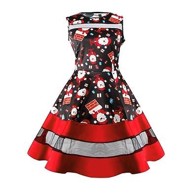 60f9f3bb3272e Yogogo Robe Sans Manches Pour Femmes NoëL Santa Snowman Imprimé BalançOire  Robes RéTro (2Noir