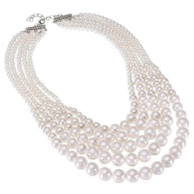 Vintage Style Jewelry, Retro Jewelry Fashion Jewelry Multi Strand Simulated Pearl Resin Chain Collar Choker Statement Necklace Costume Jewelry Necklaces for Women&Girls $14.99 AT vintagedancer.com