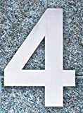 QT Modern House Number - SMALL 4 Inch - Brushed Stainless Steel (Number 4 Four), Floating Appearance, Easy to install and made of solid 304