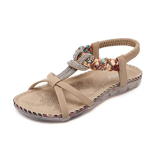 5ffac344b872e Colorxy Women s Bohemian Thong Flat Sandals Rhinestones Braided Strap  Sandals Slip On Ankle Flip Flops Shoes  Buy Online at Low Prices in India -  Amazon.in