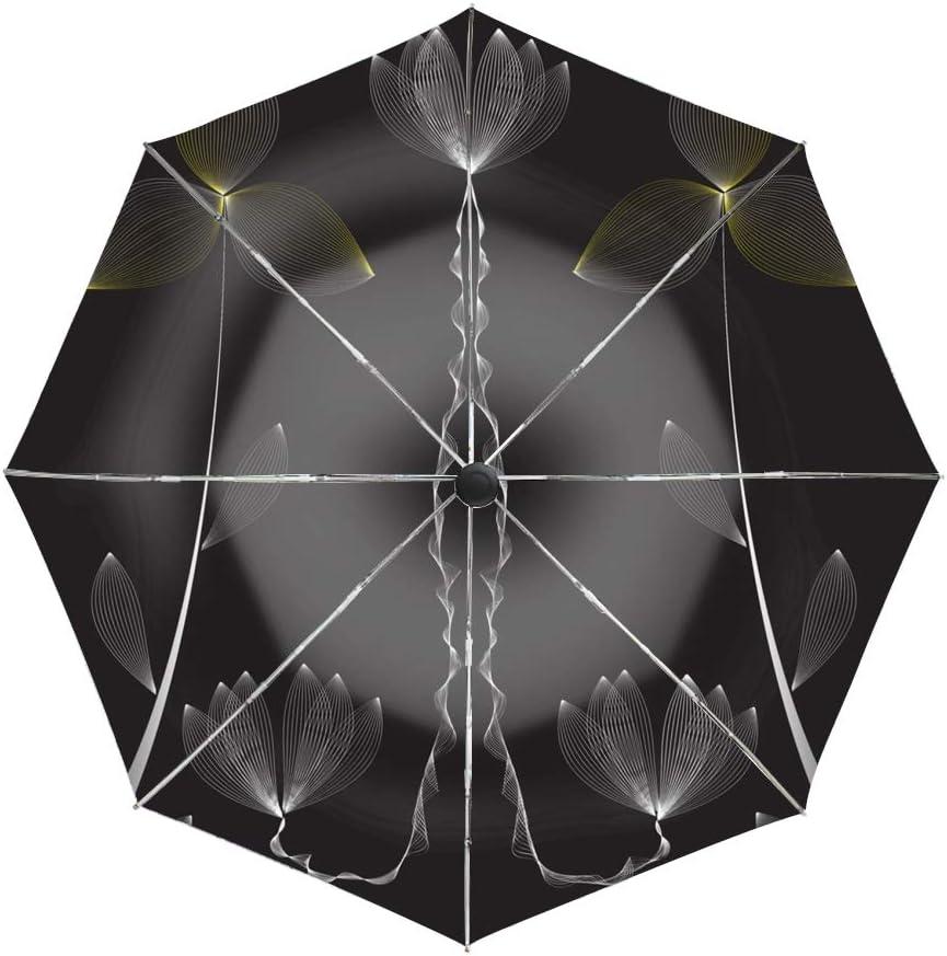 Ergonomic Non-Slip Handle Auto Open//Close Compact Umbrella,Flower Vector Automatic Folding Travel Umbrella