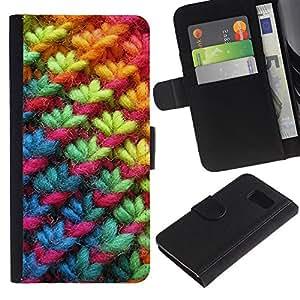 Samsung Galaxy S6 / SM-G920 Modelo colorido cuero carpeta tirón caso cubierta piel Holster Funda protección - Rainbow Pink Winter Fabric