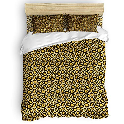 Custom Bed USA Wildlife Decor Bedding Set Twin Size Duvet Cover Set 4 Pcs - 1 Microfiber Duvet Cover, 1 Flat Sheet Matching 2 Pillowcase, Wild Tiger Leopard Print Big Cat Animal Themed