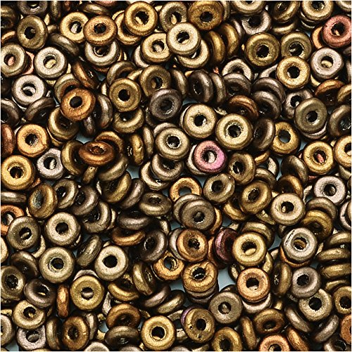 Tube Czech Glass Beads - Czech Glass Flattened O Beads, 3.8x1mm, 8 Gram Tube, Metallic Mix