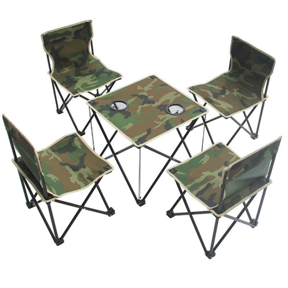 軽量屋外キャンプポータブル折り畳みテーブルネットチェアセットキャリングバッグ、4チェア+ 1テーブル、キャンプ、旅行、釣り、バーベキューのためのコンパクトサイズ   B07GDJNPNP