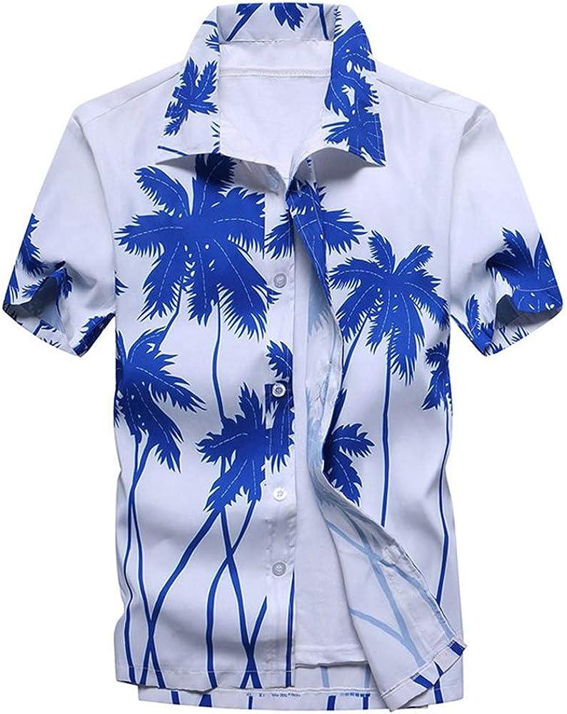 Asian-Size4,L QHF Mens Hawaiian Printed Shirt Beach Shirts Printed Short Sleeve Button Down