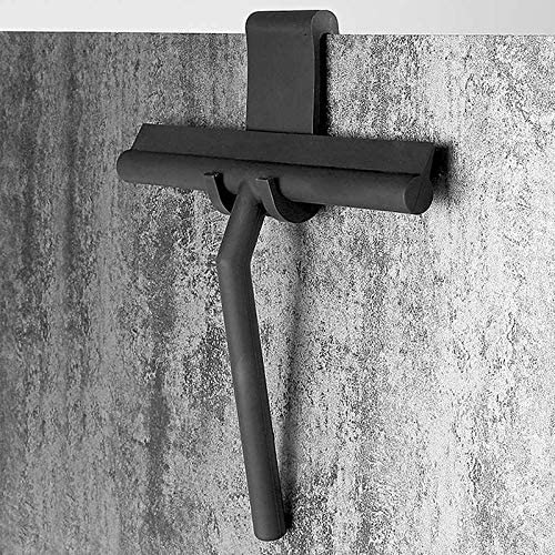 AOLVO Limpiador de limpiacristales para mampara de ducha y ventana, de 8 pulgadas, resistente, con hoja de silicona y ganchos a juego, espátulas de metal profesional para espejo de baño, color negro: