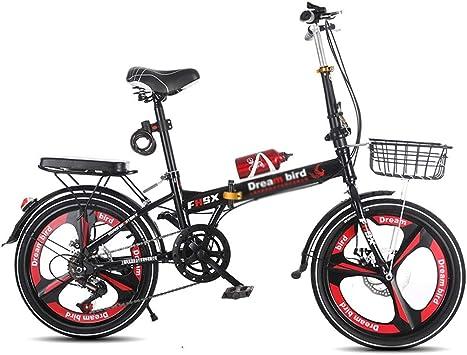 Ppy778 Bicicleta Plegable Cambio de Freno de Disco Absorción de Choque Bicicleta Plegable para Mujer Bicicleta de 6 velocidades y 20 Pulgadas Rueda de Bicicleta (Color : Red, Size : 150 *