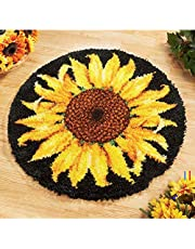 "Latch Hook Rug Kit, Sunflower Pattern Printed Canvas DIY Rug Crochet Yarn Kits, Embroidery Decoration 20.4"" X 20.4"" (52 * 52Cm)"