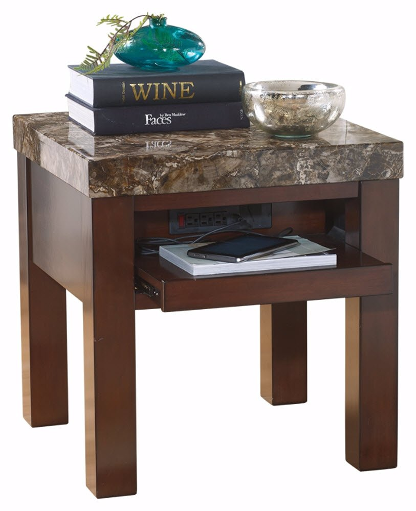 Ashley Furniture Signature Design - Kraleene End Table - Pull Out Tray with USB Ports - Contemporary - Dark Brown by Signature Design by Ashley (Image #1)