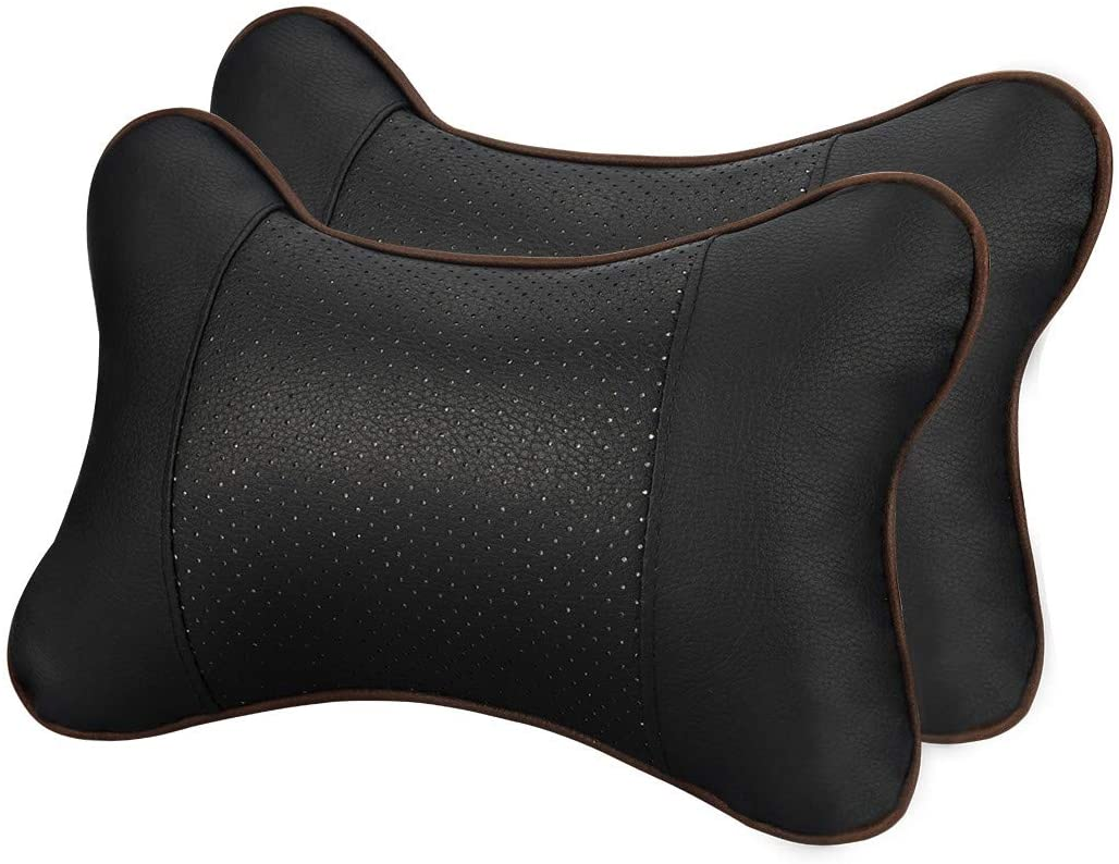 JELEGANT Car Neck Pillow Breathable Auto Head Neck Rest Cushion Relax Neck Support Headrest Comfortable Soft Pillows for Travel Car Seat & Home, Set of 2[Black]