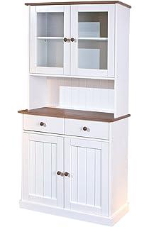 Abitti - Credenza da cucina a 4 ante e 1 cassetto, colore: grigio ...