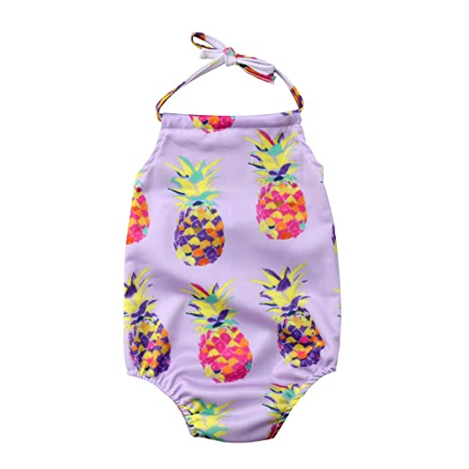 14855f828da43 Mornbaby Baby Girl Swimsuit Pineapple Backless Halter Swimwear Sunsuit  Summer Beachwear Outfit (Dark Purple,