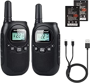 Adults Walkie Talkies Rechargeable Two-Way Radios with USB Charge Mini Walky Talky with Rechargeable Battery Long Range 5 Miles with Bright Light 2 Pack 0.5W Perfect for Family Outdoor Camping Trip