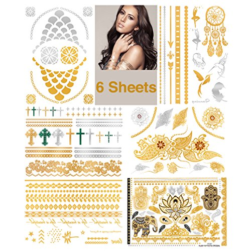 Metallic Temporary Tattoos - Waterproof Nontoxic 75+ Designs 6 Large Sheets Body Art Flash Fake Tattoos Stickers in Gold, Rose Gold & Silver, Gold601