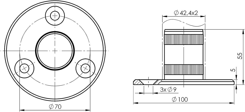 De la pared y el suelo de brida para tubo redondo de di/ámetro de 38,1 mm