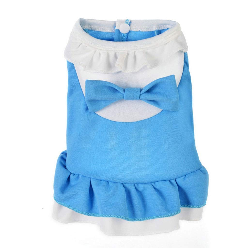 bluee XL bluee XL QLMS Pet 2019 New Spring Clothing Dog Teddy Bear Clothes Summer Breathable Thin Section Micro-Elastic Princess Dress (color   bluee, Size   XL)