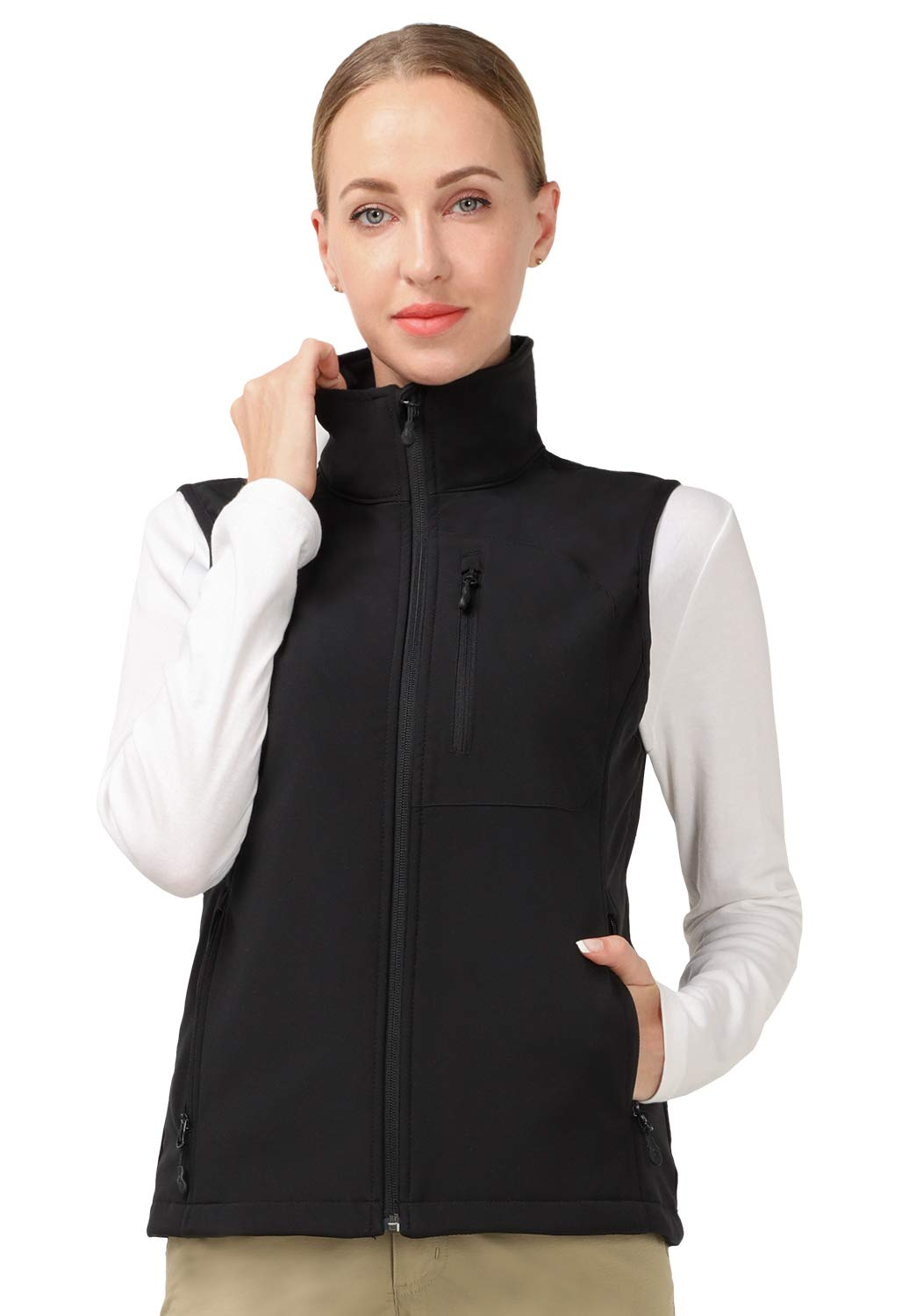 Water Resistant and Zip Front MIER Womens Windproof Softshell Jacket with Hood Fleece Lined Warm Up Jacket
