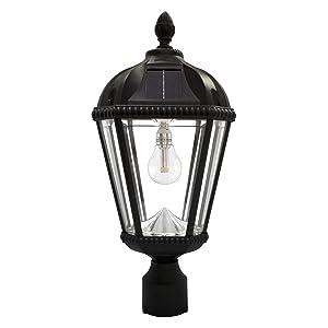"Gama Sonic GS-98B-F-BLK Royal Bulb Lamp Outdoor Solar Light Fixture, 3"" Post-Fitter Mount, Black"