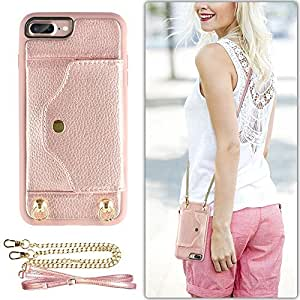 """iPhone 8 Plus Wallet Case, LAMEEKU iPhone 7 Plus Case Leather with Credit Card Holder Slot, Protective Cover with Crossbody Chain Strap & Wrist Strap for Apple iPhone 7 Plus/8 Plus 5.5"""" Rose Gold"""