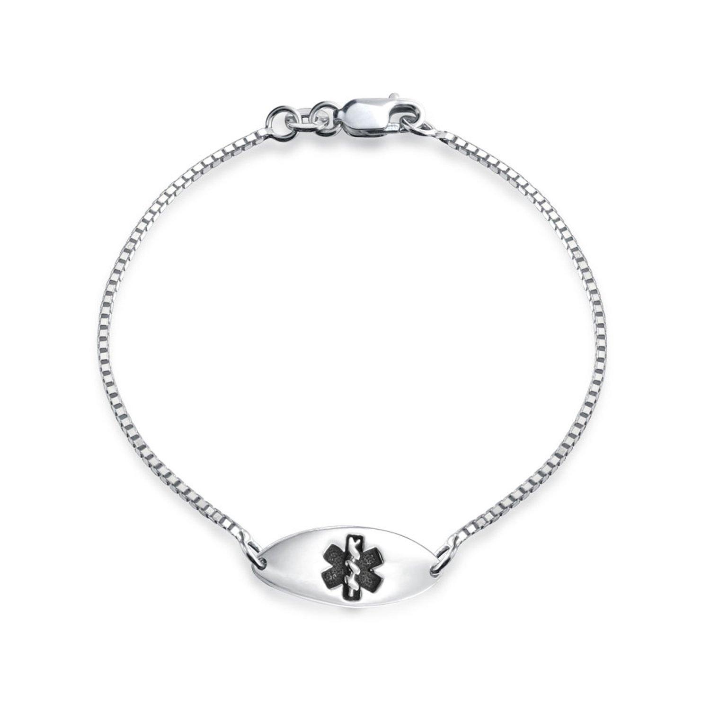 Bling Jewelry Childrens ID Tag Medical Alert Bracelet 6.5in 925 Silver APPL-JB-1309121