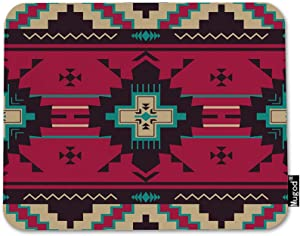 Mugod Wave Line Mouse Pad Aztec Navajo Triangle Pattern Ethnic Purple Red Blue Brown Mouse Mat Non-Slip Rubber Base Mousepad for Computer Laptop PC Gaming Working Office & Home 9.5x7.9 Inch
