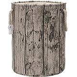 "Sea Team 19.7"" Large Size Stylish Tree Stump Wood Grain Canvas & Linen Fabric Laundry Hamper Storage Basket with Rope Handles, Birch"