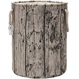 Sea Team 19.7'' Large Size Stylish Tree Stump Wood Grain Canvas & Linen Fabric Laundry Hamper Storage Basket with Rope Handles, Birch