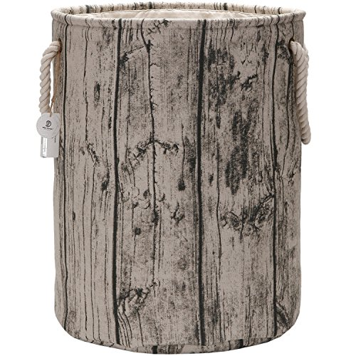 "Sea Team 19.7"" Large Size Stylish Tree Stump Wood Grain Canvas & Linen Fabric Laundry Hamper Storage Basket with Rope Handles, Birch"