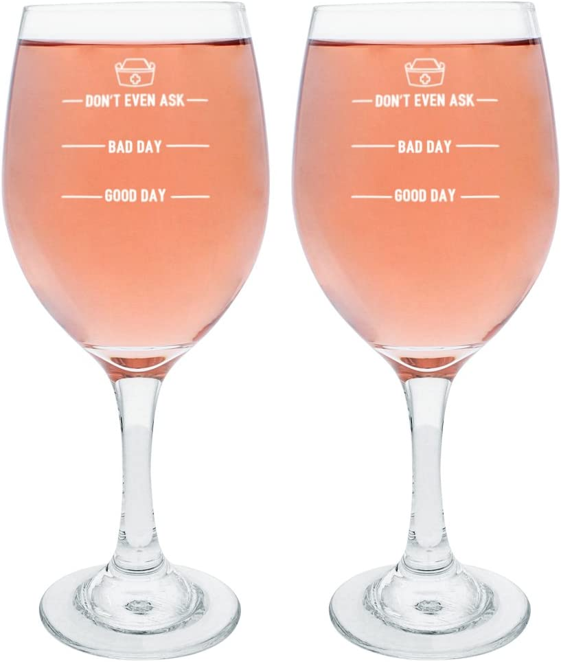 Amazon Com Graduation Gifts For Nurses Funny Nurse Wine Glass Funny Nurse Gifts Don T Ask Bad Day Good Day Nurse Practicioner Gifts Nursing School Gifts Gift Wine Glasses 2 Pack Wine Glass Set