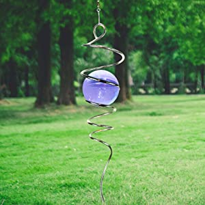 LjlifArt Gazing Ball Spiral Decorative Wind Spinner 11 inch Spiral and 2 inch Purple Glass Ball Unique Gift and Hanging Decor for Indoor Outdoor Garden Decoration