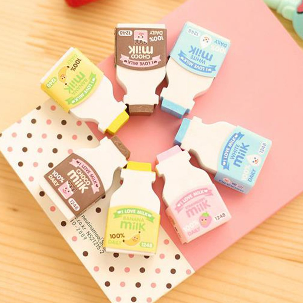 Random Color 2Pcs Random Color Cute Milk Bottle Style Eraser Office School Stationery Gift zsjhtc by zsjhtc (Image #3)
